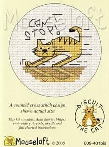 Mouseloft Can't Stop Biscuit the Cat cross stitch kit
